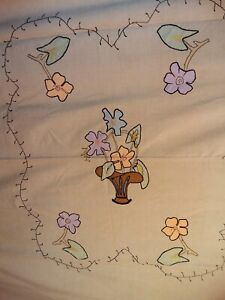 Hand embroidered Large Cotton Vintage Throw / table cloth
