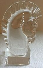 STEUBEN CRYSTAL HORSE HEAD KNIGHT PAPERWEIGHT SCULTURE