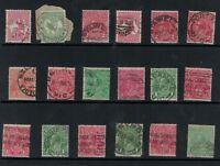 * Postmarks * CANCELS * kangaroo kgv stamps 1/2d 1d 1 1/2d 2d mix lot  x 18