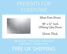 "18"" x 12"" Inch Oblong Rectangular Wedding Birthday Cake Drum / Board 12mm"