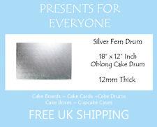 "18"" x 12"" Inch Oblong Rectangular Wedding Birthday Cake Drum / Board 12mm"