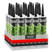 Selsil Premium 280ml Black General Purpose Silicone Sealant (25-Pack)