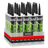 Selsil Premium 280ml Black General Purpose Silicone Sealant (25-Pack)