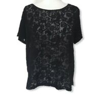 Jigsaw L 14-16 Black Crochet Lacey Top Shirt Blouse Gothic Party Casual