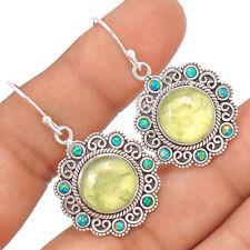Prehnite & Fire Opal 925 Sterling Silver Earrings Jewelry EE35911