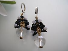 Vintage handcrafted Chinese lucky knot / Crystal, Agate dangle earrings
