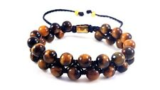 MENS TIGER EYE BEADED BRACELET SOLID 24K YELLOW GOLD BEAD DOUBLE LAYER WRAP CUFF