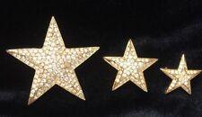 Vintage Joan Rivers Shooting Stars Pin / Brooch Set of 3 Sparkling Pave Crystal