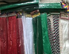 """12"""" Pipe Cleaners Craft Chenille Stems Red Green Christmas Lot USA seller"""