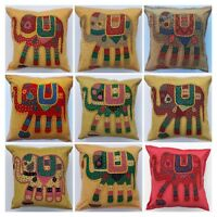 Indian Handmade Floor Pillow Elephant Patchwork Embroidery Cushion Cover 40x40cm