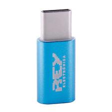"Adaptador-Conversor Micro USB Hembra a USB Tipo ""C"" Macho Azul. v395"
