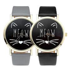 """Damen Mode schwarz Katze """"MEOW"""" Zifferblatt Quarz Uhr PU Leder Armbanduhr"""