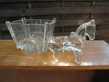 Altes Glas Pferdegespann Pferd mit Karren-Wagen Übertopf Schale Pressglas 24 cm