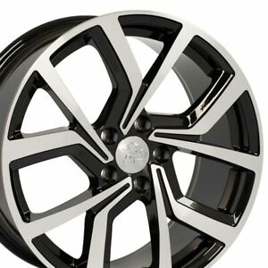 "18"" Rim Fits Volkswagen VW GTI VW29 Black Mach'd Offset 42mm 18x8 Wheel"