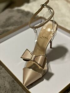 Sexy Christian Louboutin Naked Bow 100 Size 37 Clear Satin/PVC Bow Pump