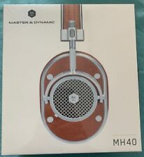 Master & Dynamic MH40 Over Ear Headphones Silver Metal Brown Leather Open Box