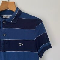 Mens Lacoste Striped Polo Shirt Size XS Blue Short Sleeve Casual Top Summer Tee