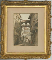 Early 20th Century Watercolour - Continental Street Scene