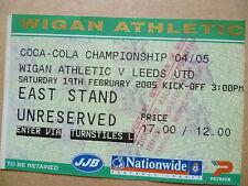 Ticket- WIGAN ATHLETIC v LEEDS UNITED, Coca Cola Championship, 19 Feb 2005