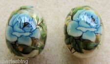 2 Japanese Tensha Beads BLUE ROSE on GOLD FOOTBALL Beads 16mm