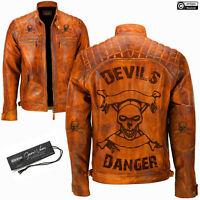 Mens Devil Design Vintage Biker Motorcycle Cafe Racer Genuine Leather Jacket NEW