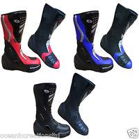 Motorcycle Black Blue Red Leather Waterproof Motorbike Winter Race Boots 7 - 14