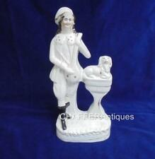 Antique STAFFORDSHIRE Pottery Figurine of Musician and Spaniel c1870s