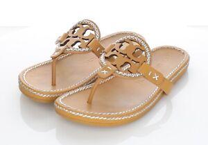 R67 $248 Women's Sz 6 M Tory Burch Miller Whipstitch Leather Medallion Sandal
