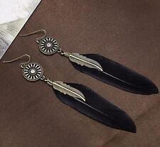 Vintage Antique Bronze Black Feather Ear Drop Dangle Earrings Birthday Gift
