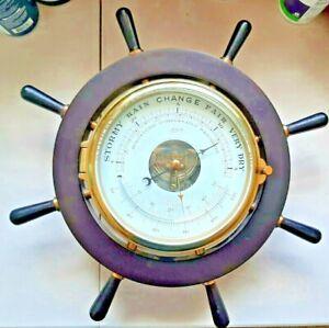 Vintage Shatz Ship's Wheel THERMOMETER BAROMETER Germany Brass NAUTICAL ART WALL