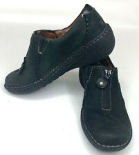 Clarks Artisan Womens Loafer Shoes Black Leather Zip Up Active Air Mule 6 1/2 M