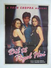 DIL TO PAGAL HAI 1997 Shah Rukh Madhuri KARISHMA AKSHAY  Rare Poster Bollywood