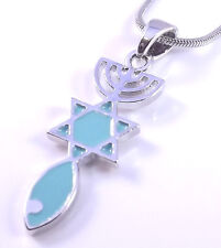 Messianic Seal Necklace Hebraic Roots Silver Grafted Star Of David Menorah Gift