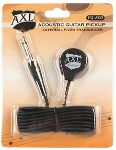 axl pg-800 piezo transducer acoustic guitar pickup w 9 foot cable and 1/4 jack
