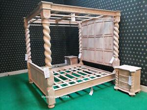 UK STOCK~ 6' Super King TEAK or OAK Elizabethan Tudor Four Poster canopy Bed