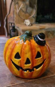 Vintage Halloween Jack O' Lantern Ceramic Planter MCM Witch Hat #0340 Japan