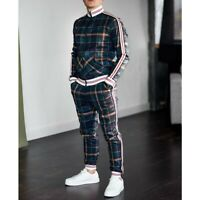 Mens Jogger Tracksuit 2 Piece Hip Hop Pants Jacket Sweatsuit Sweatshirt Set