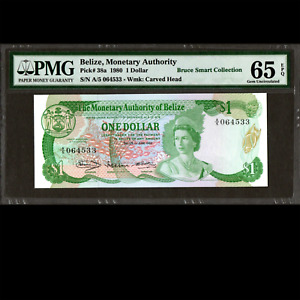 Monetary Authority of Belize 1 Dollar 1980 PMG 65 GEM Uncirculated EPQ P-38a