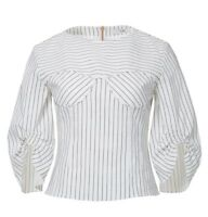 TIBI CECIL STRIPE PEPLUM CORSET TOP Blouse Linen Cotton Size 2 New With Tag $425