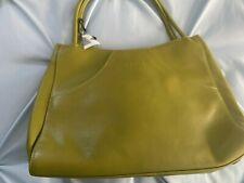 Women's BOSCA  Nappa Vitello Leather Handbag Purse  Celery Green NWT