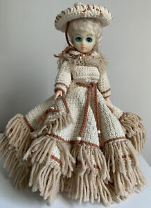 Vintage 1970's  Dresser Doll With Handmade Intricate Crocheted Dress And Bonnet