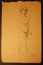 GIOVANE UOMO FIGURA INTERA- NUDO Disegno Originale matita su Carta 1800 cm 41x62