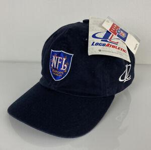 NEW VTG DEADSTOCK Logo Athletic NFL Europe League blue cotton strapback hat