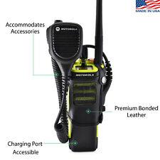 Motorola APX 7000XE Duty Belt Holster Case Two Way Radio Black Leather Belt Clip