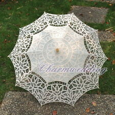 Beige Handmade Full Battenburg Lace Parasol Vintage Wedding Bridal Umbrella NEW