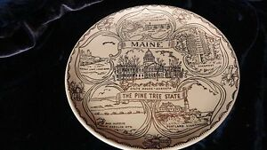 Gold Design Maine Collectors Comerative State Plate