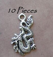 10 Flying Dragon Charm Pendants For Jewelry Making Halloween