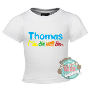 Vehicles! Personalised with name. Digger. Custom BABY t-shirt, Blue or White.