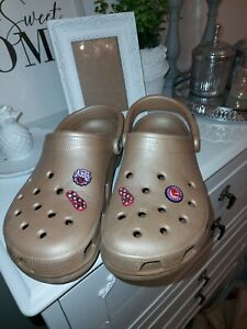 Crocs Sandals Gold With Badges Size 10 W12