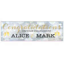 2 PERSONALISED 800mm x 297mm  ENGAGEMENT BANNERS